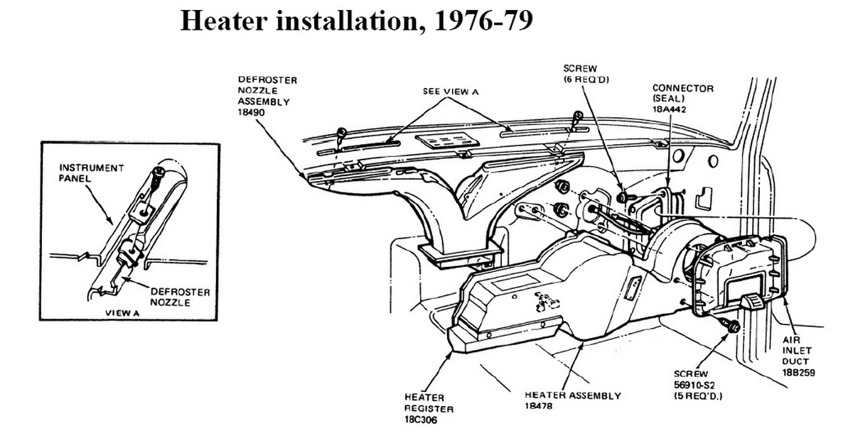 77ux3 F100 Replace Heater Core 1978 on 1978 Ford Pickup Wiring Diagram