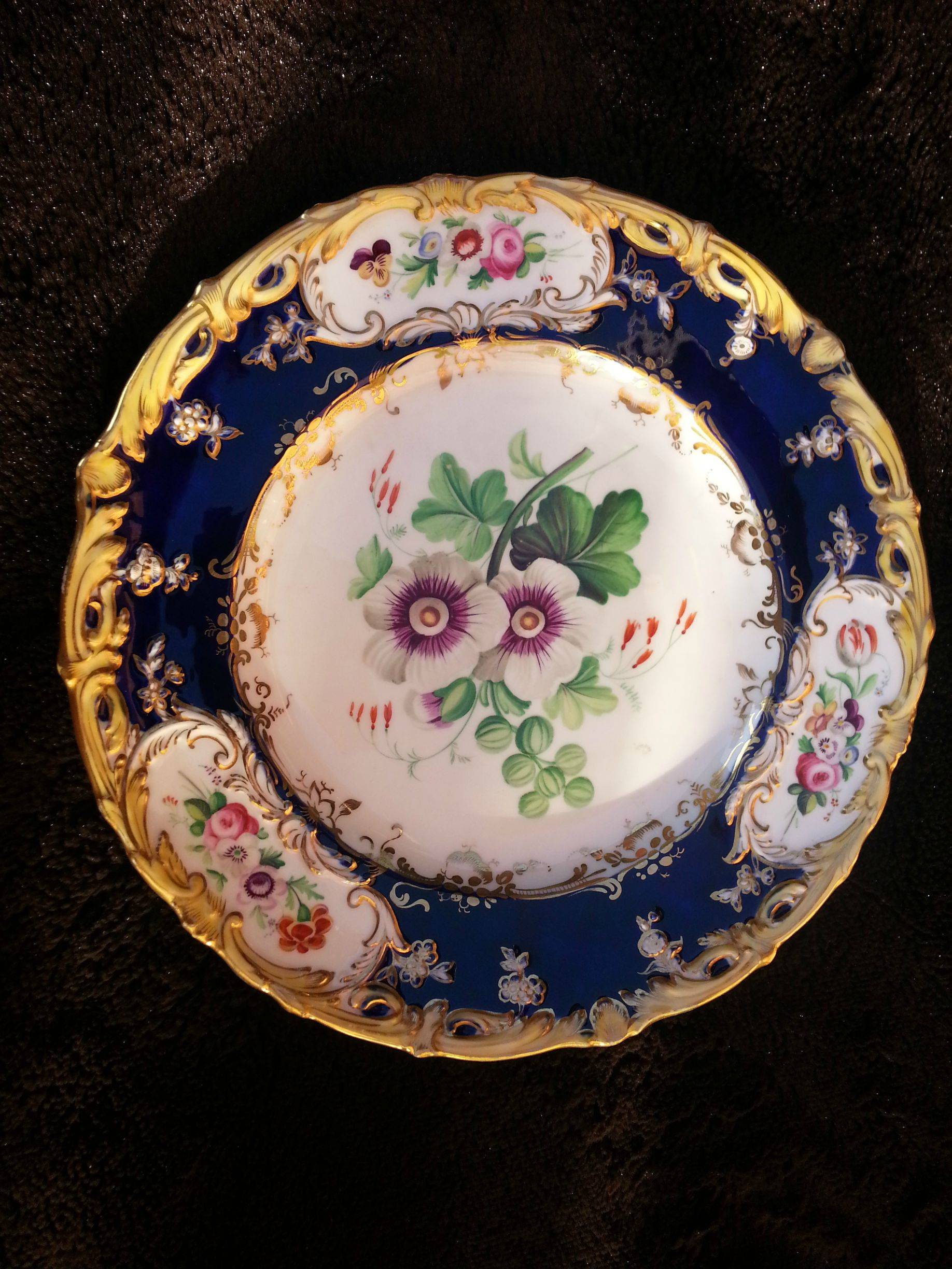 I have some china antique could you tell me the year and place of dessert plate by coalport circa 1839 45 in the same 4412 pattern with central painting of a hollyhock by stephen lawrance the blue border reserved with reviewsmspy