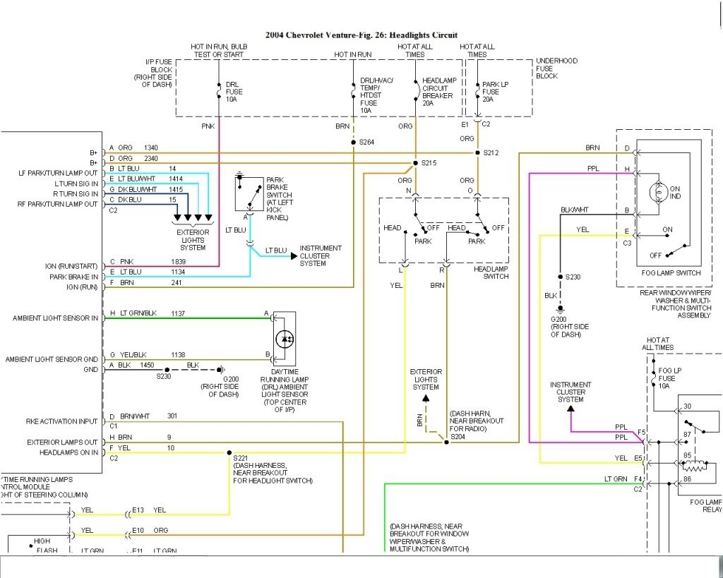 I Need A Headlight Wiring Diagram For The 04 Chevy Venture  I Have Looked On The Internet And