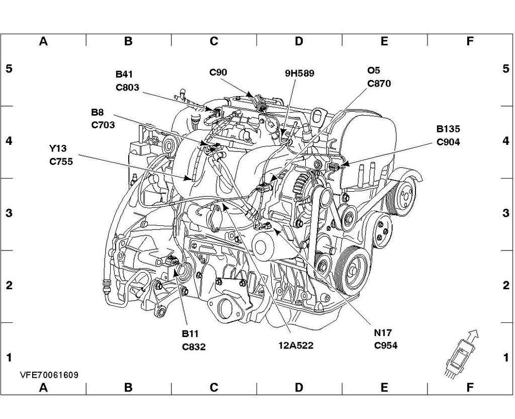Where is the camshaft sensor located on a 2002 ford transit