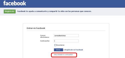 Olvide mi contrasena de facebook