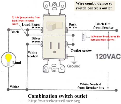 have a leviton 5225-isp combo switch & receptacle, how to connect to have  switch turn receptacle off and on  justanswer