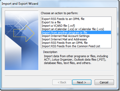 Export And Import Wizard
