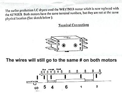gemotorsheet i had a dryer motor we17x32 on model dbl6850tdl the replacement we17x10010 wiring diagram at fashall.co