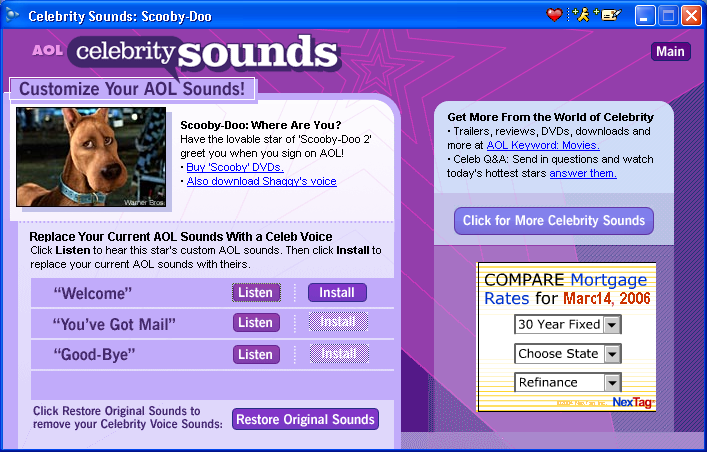 I am using AOL 9.5. I would like to get Celebrity voices ...