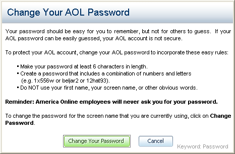 America Online AOL: Change Password