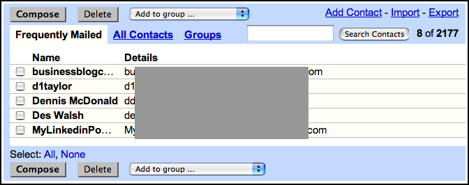 Google Gmail: Contacts view