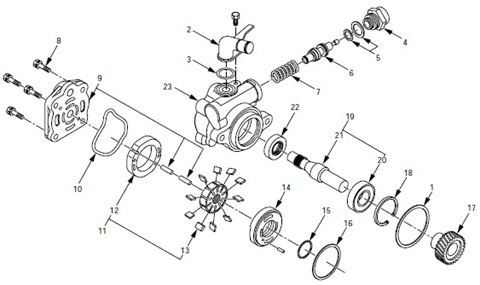 After dismounting the hydraulic    pump        power       steering       pump     there is a small valve with a spring