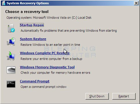 Vista System Recovery Options screen