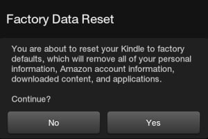 Kindle Fire Factory Data Reset