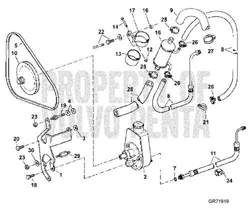 12127 how can i tension the power steering belt on my volvo penta 5 7 gsi
