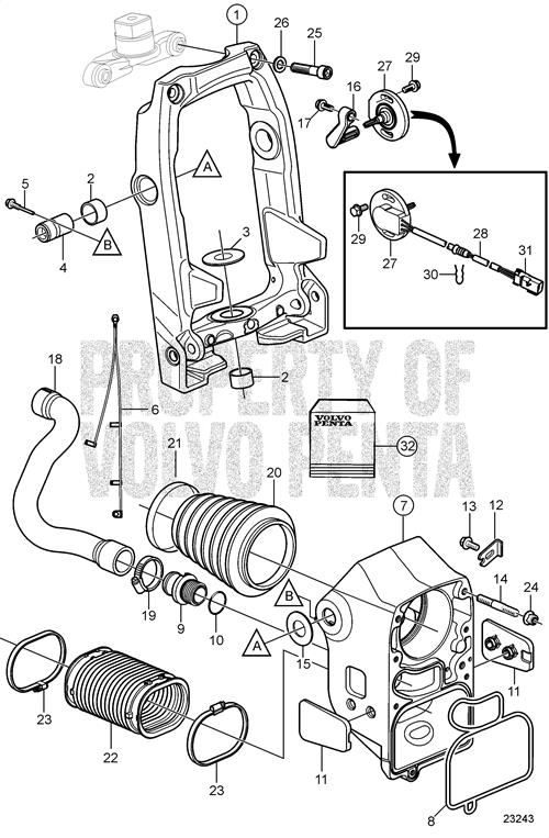 Volvo Penta Exploded View Schematic Cylinder Head Freshwatercooled