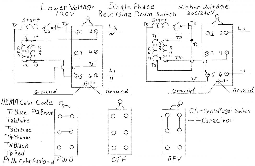 Wiring diagram besides drum switch single phase motor wiring diagram i am trying to wire a 110 volt ac motor to a forward reverse switch rh cheapraybanclubmaster
