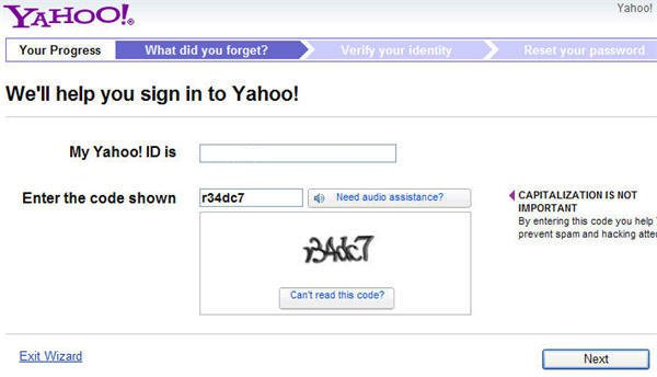 cant get into yahoo mail