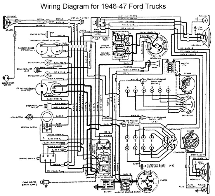 i 39 39 m converting a 6v positive ground to 12v on a 1946 ford 1 2 ton pick up truck need wire. Black Bedroom Furniture Sets. Home Design Ideas