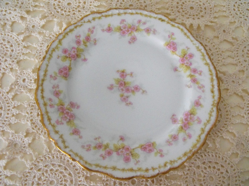 Elite Limoges dishes with a pink and blue thistle pattern, gold rim ...
