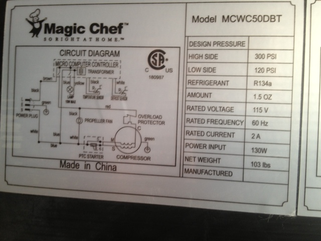I Have A Magic Chef Wine Fridge Model Mcwc50dbt  Motor Wont Run And Neither Will The Fan  It Was
