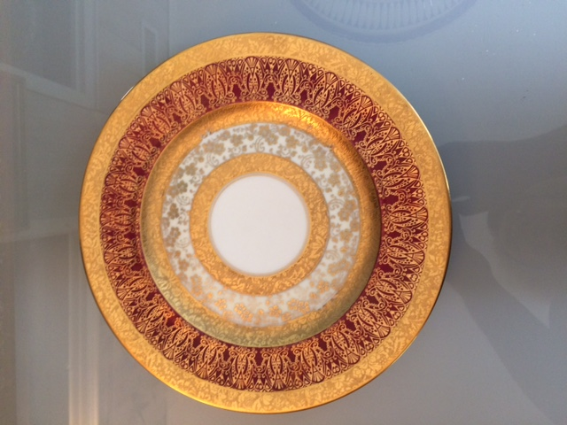 Gold & Burgundy encrusted Limoges 10 & 3 eights inches.JPG