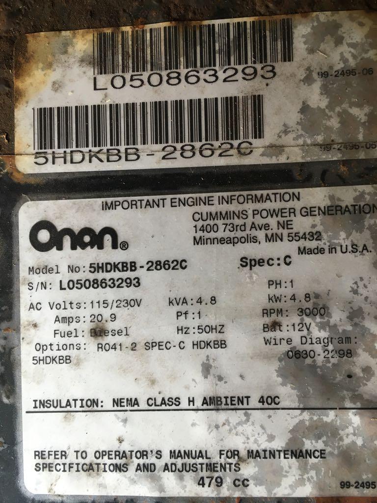 Hank, I have an Onan CMQD 5000 DIESEL genny, 7 5kw, its showing a