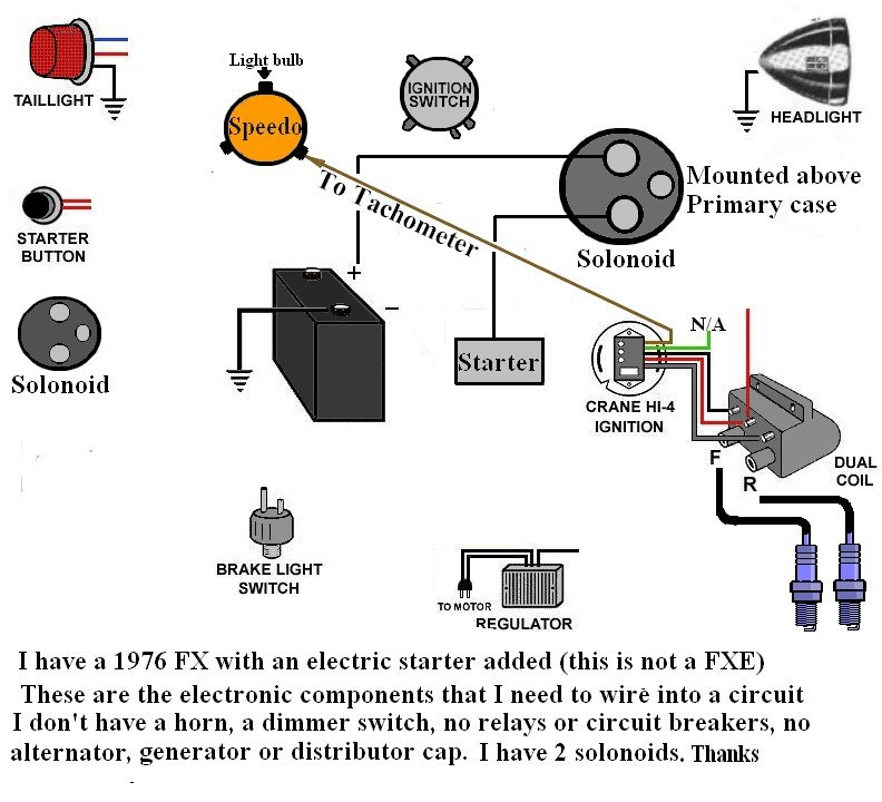 I am trying to wire my 1976 Harley FX, with an electric ... Harley Shovelhead Kick Start Wiring Diagram on