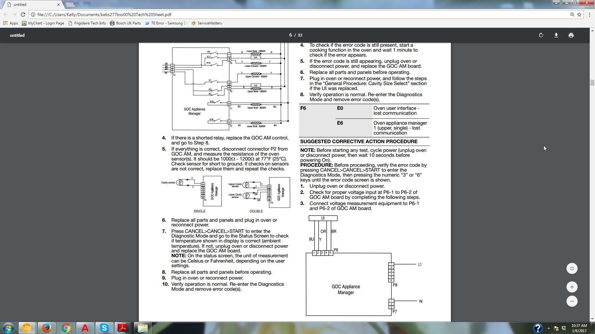 I have F6E6 error code, KitchenAid Double Oven started last night ...