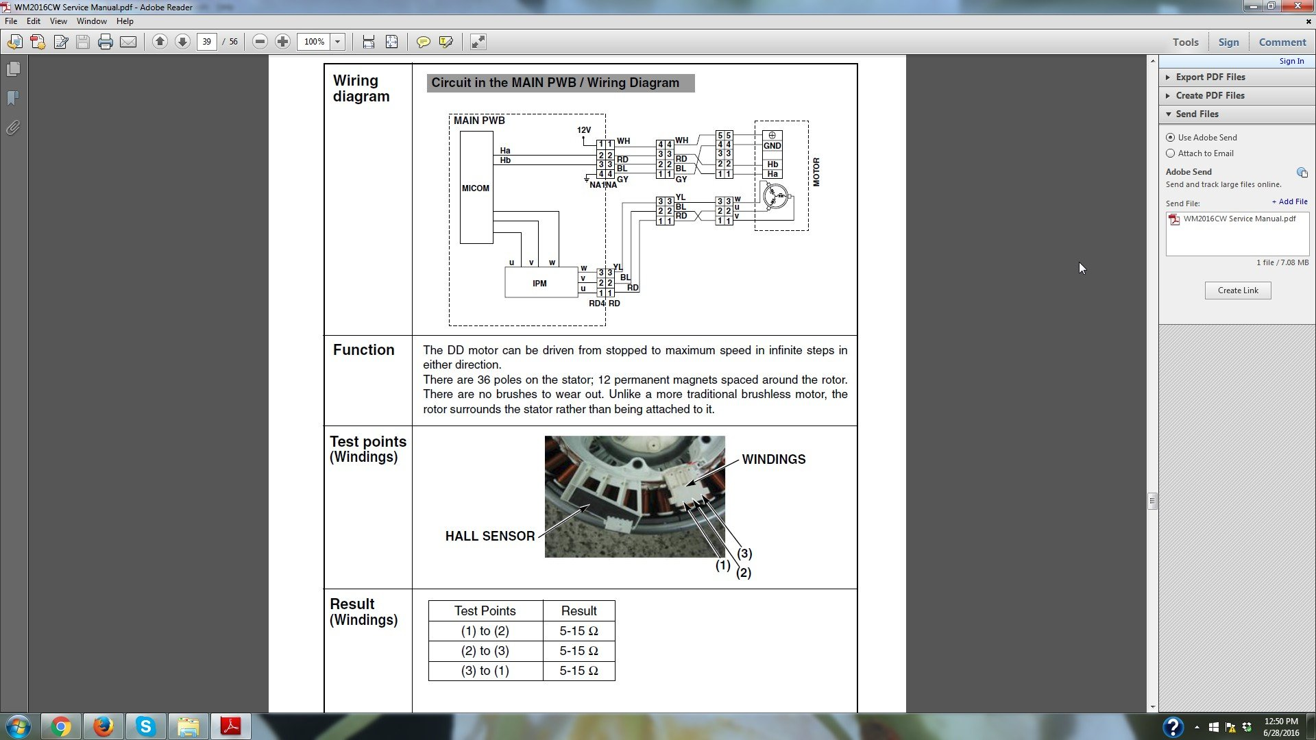 How do you test the stator and rotor on a LG washing machine