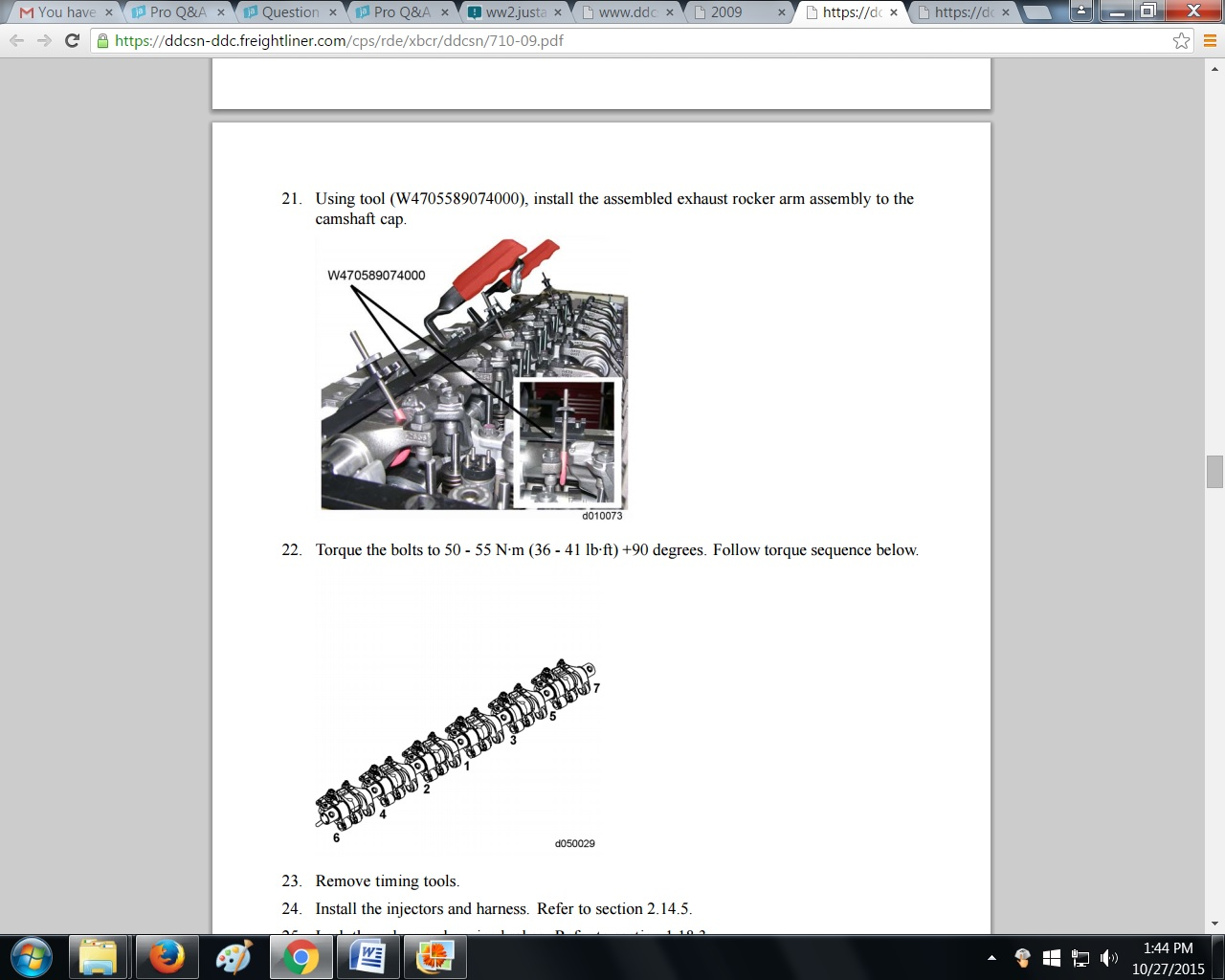 Need Torque Specs For Freightliner Mercedes Mbe Engine Truck Serial
