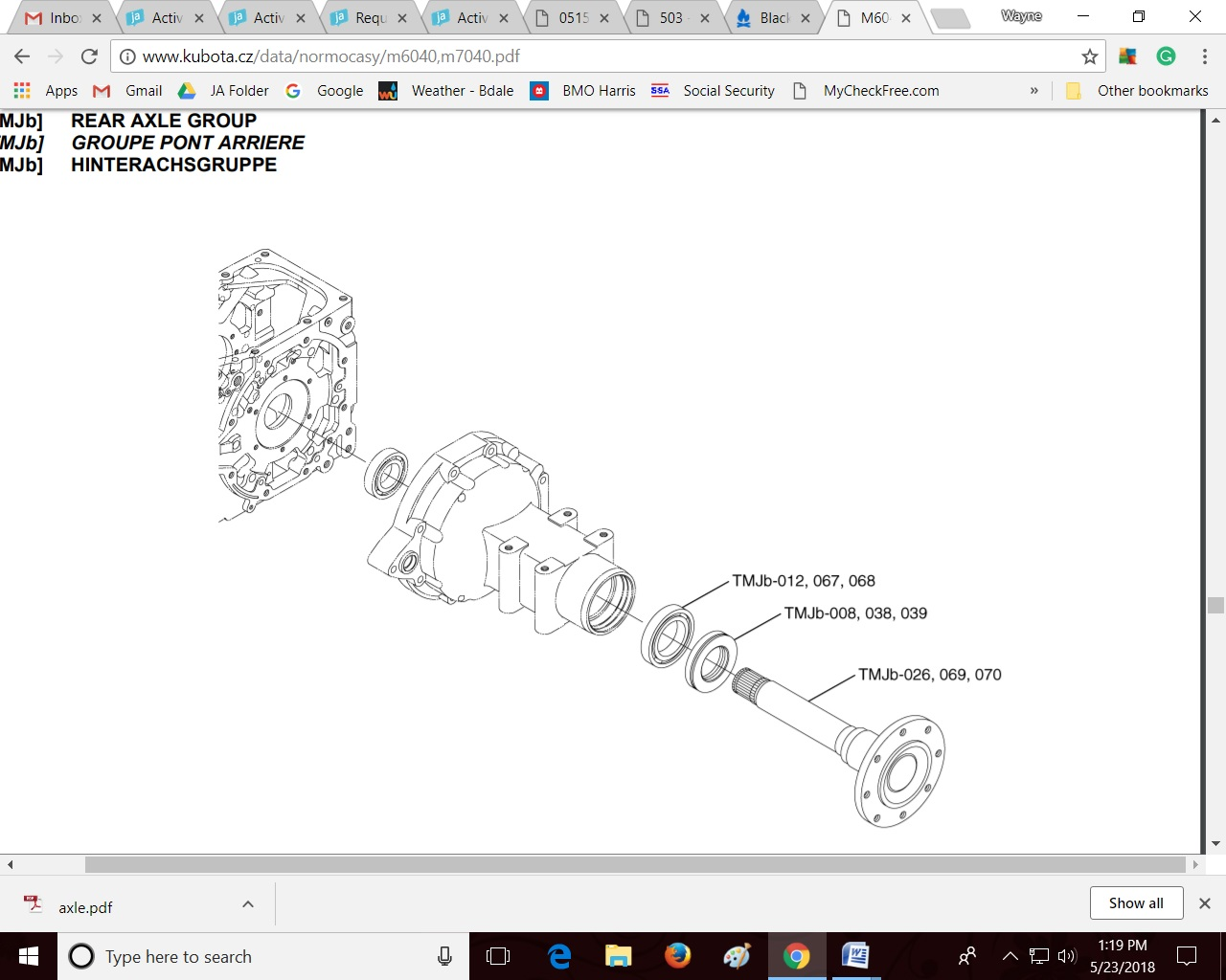 Trying to figure out how to remove the rear axle on a kubota m7040