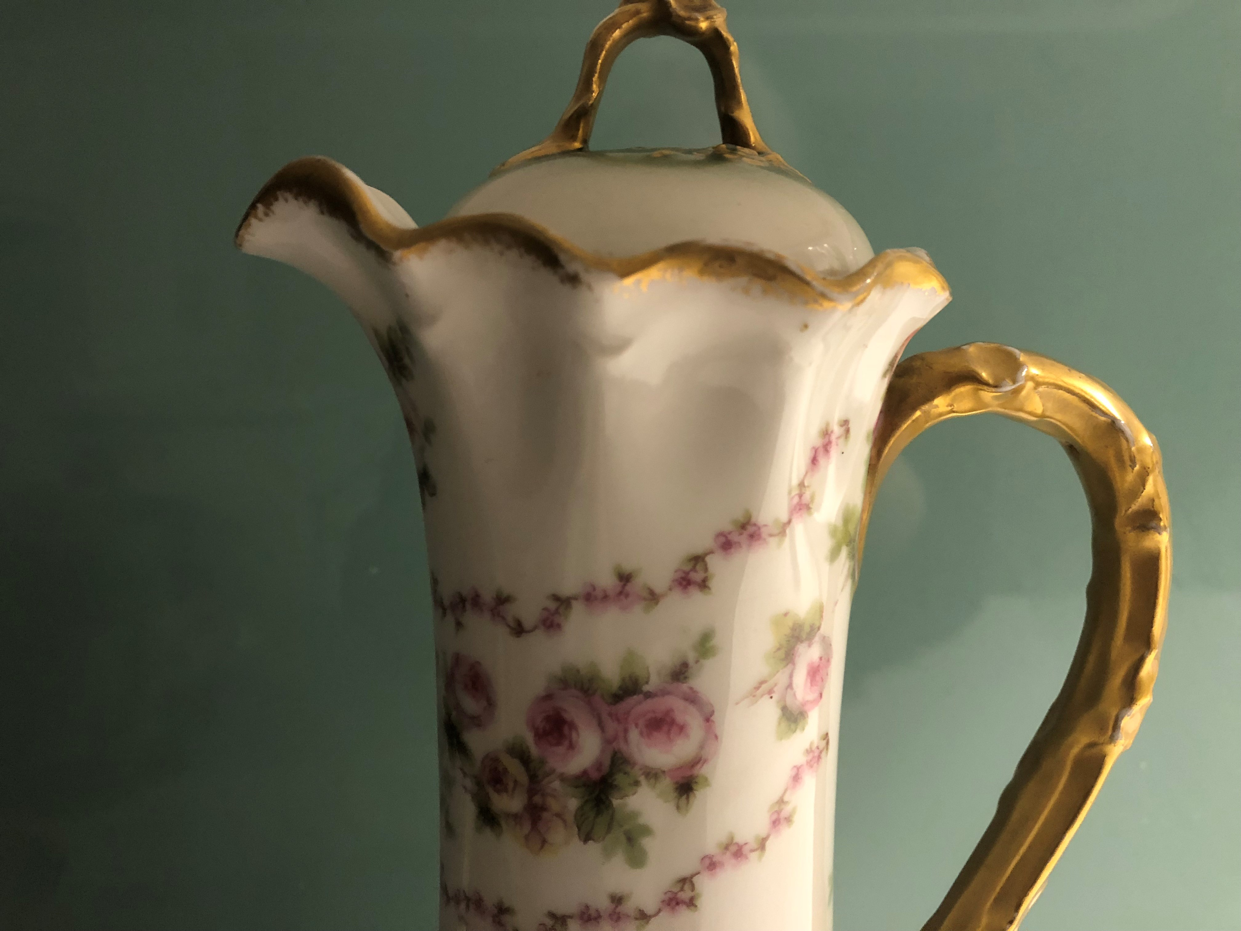 Limoges Chocolate Pot Marked Gda Limoges And Gda France 12 Inches