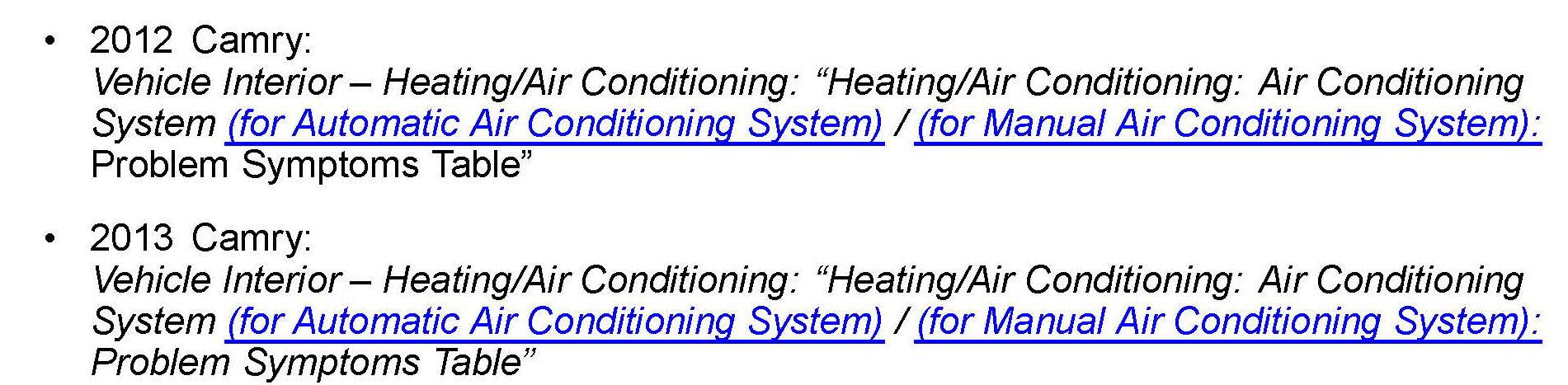 Toyota Sienna Service Manual: Problem symptoms table