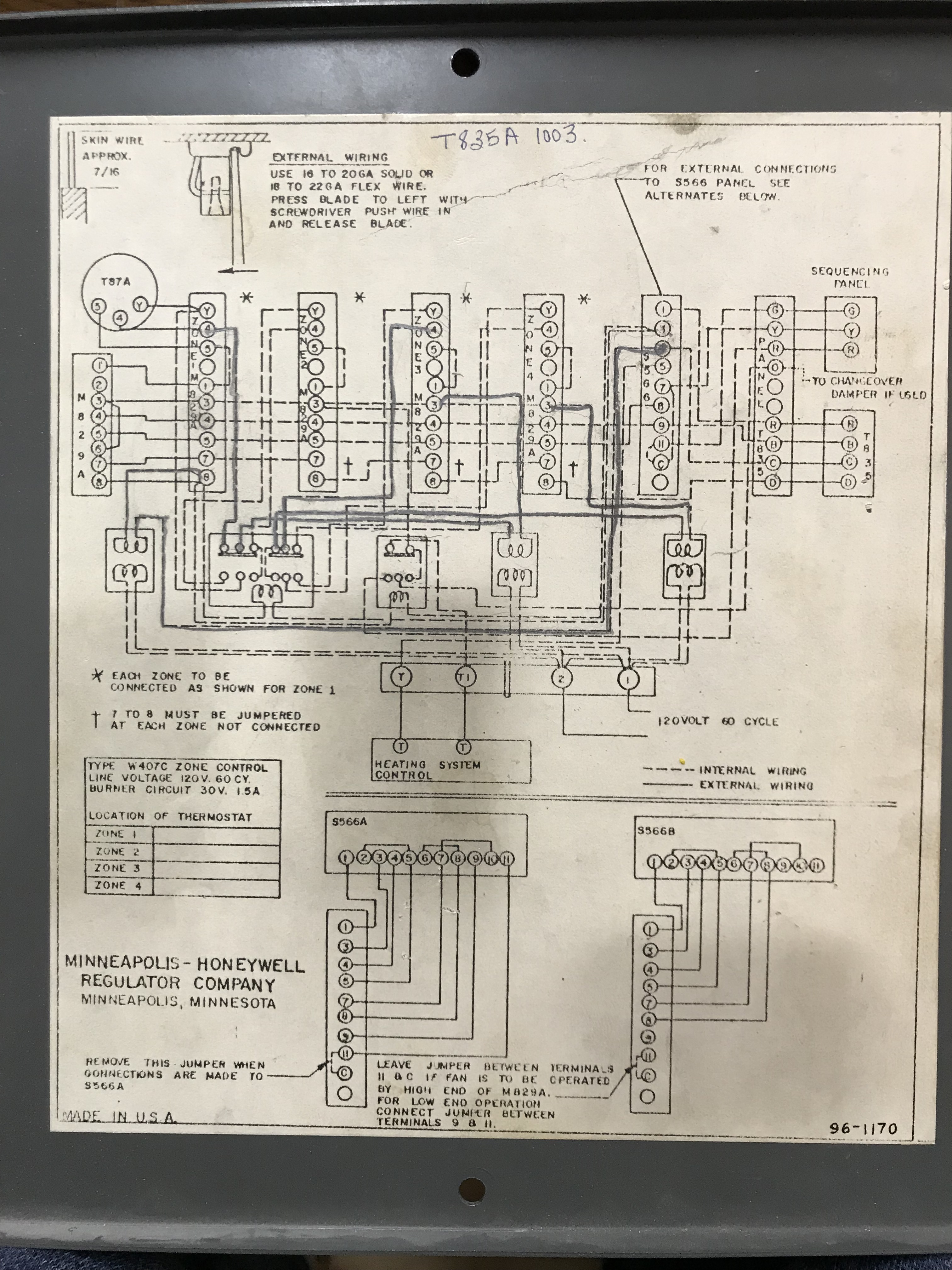 I Have A Honeywell 4 Zone Control System In Home From 1963 Do You Board Wiring Diagram Shoneywe
