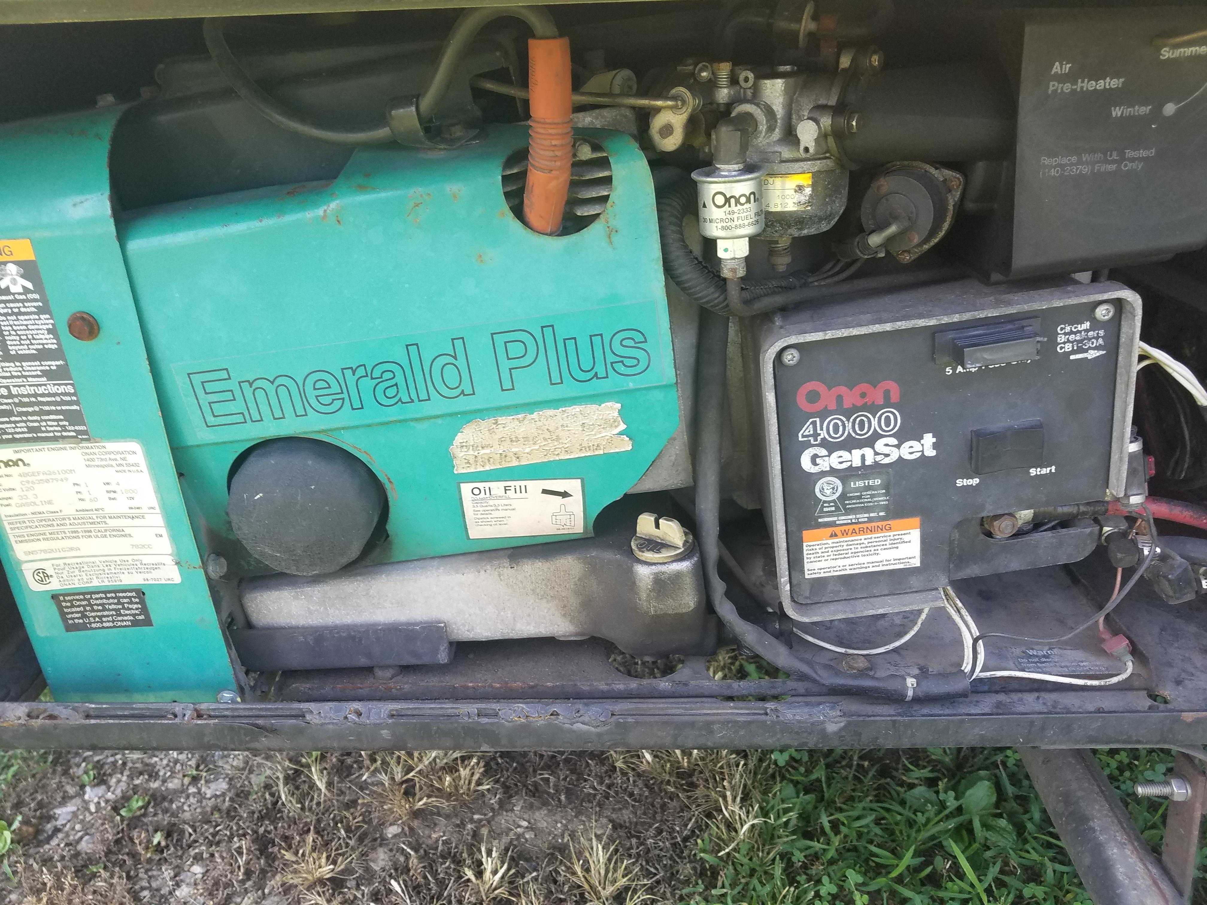 I have an onan 4000 gin set generator in my older model motor home ...