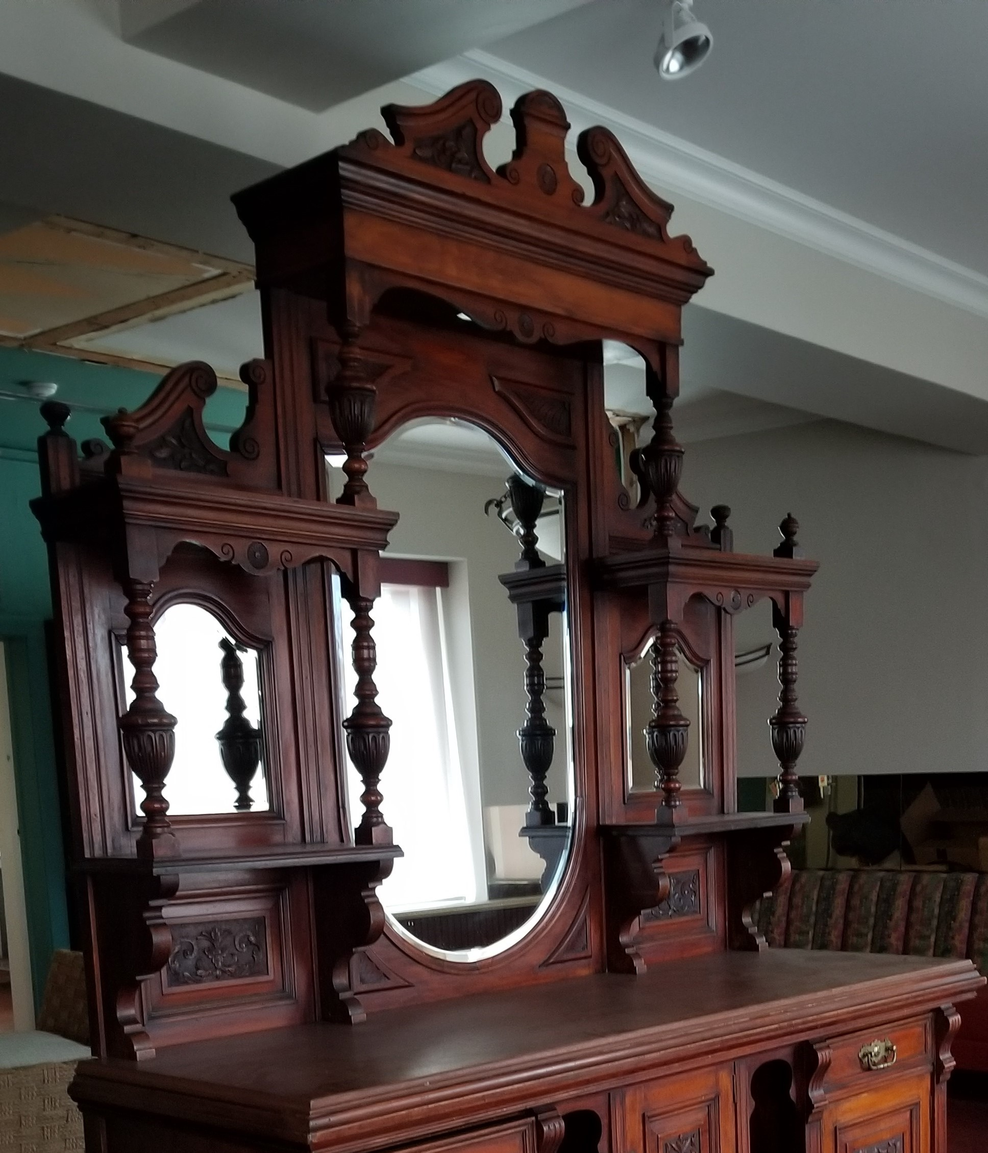Antique Buffet sideboard with mirror landscape detail.jpg