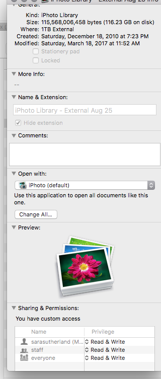 I want to import an iphoto library from an external hard
